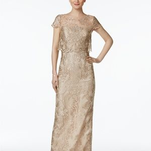 Adrianna Papell Tiered Lace Gown Rose Gold/Nude